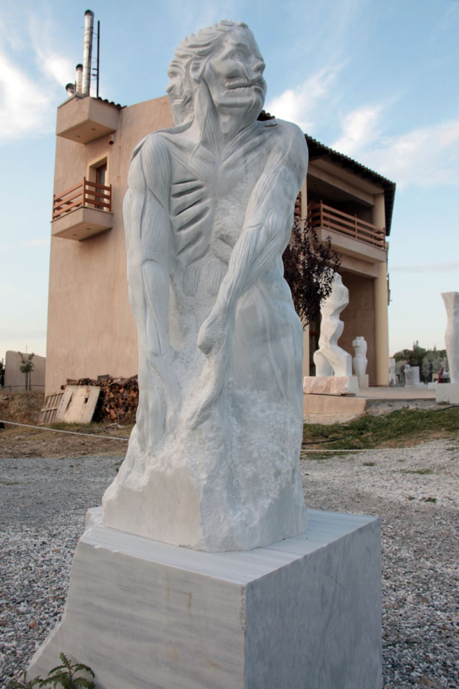 "Original marble sculpture of Stratos Pallas, completed on August 2013, within Myrό Antiques House premises, in Souroti, Thessaloniki, GREECE, as part of the Greek Marble Initiative, bearing the title ""Internality"". Dimensions: 144 X 50 X 50 cm (without its base)."