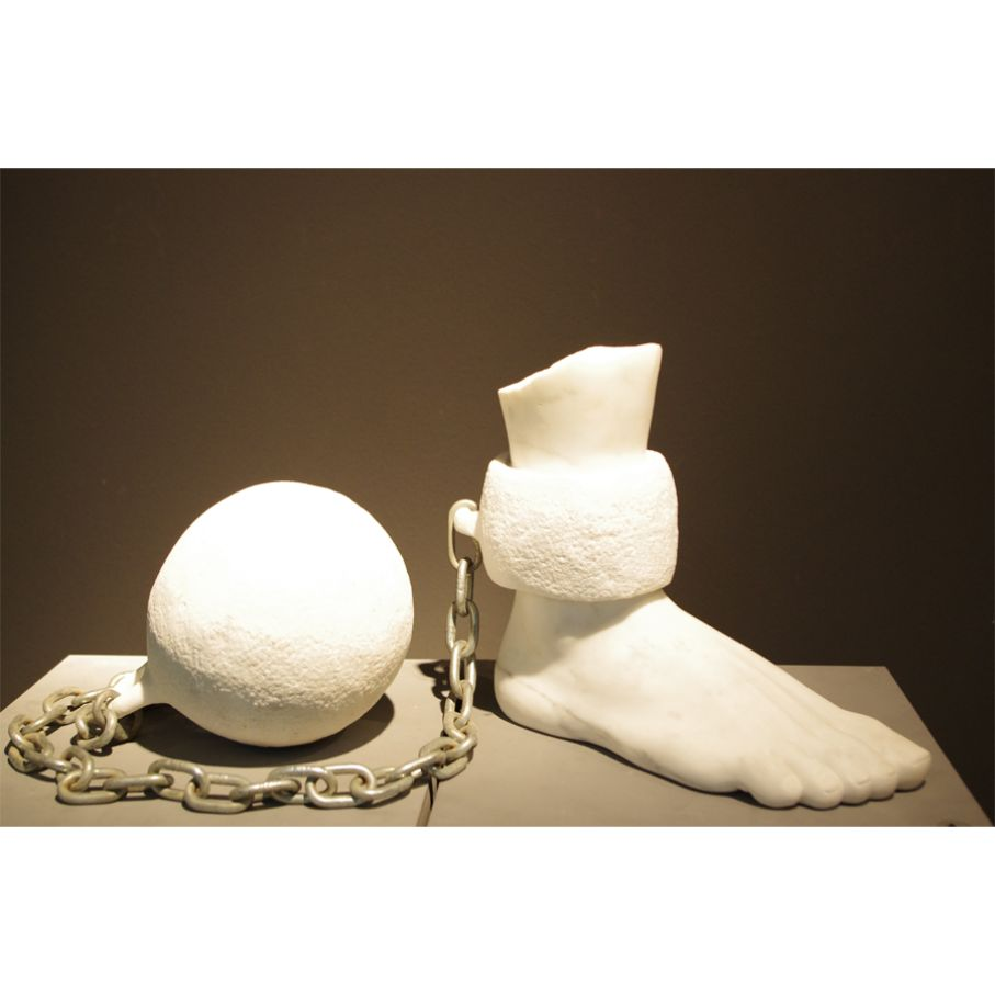 "Original marble sculpture of John Bizas created as part of the Greek Marble Initiative, bearing the title ""Bontage"", dimensions 20cm x 11cm(ball) x 46cm."