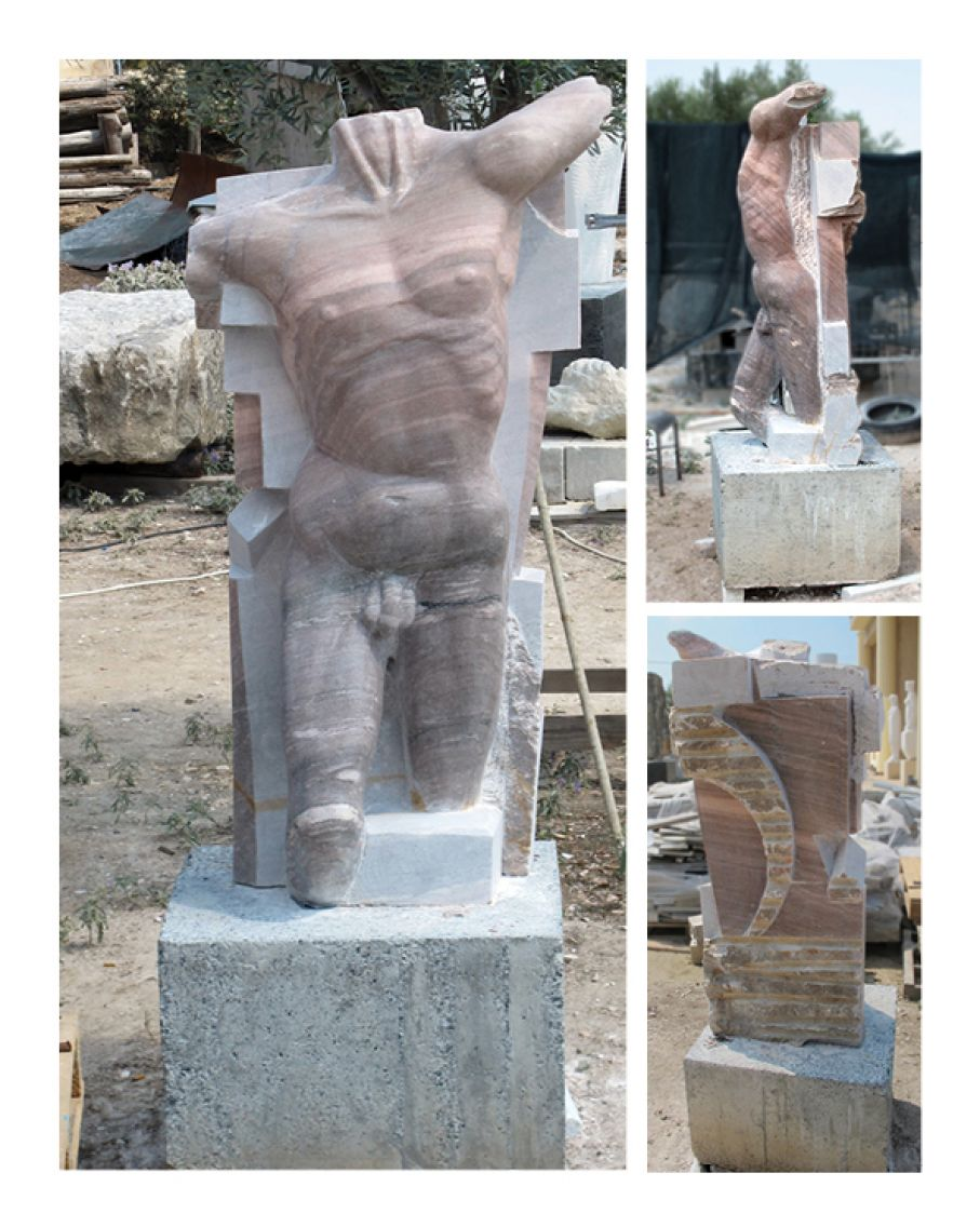 "Original marble sculpture of Ciprian Chopirtean, completed within Myrü Antiques House premises, in Souroti, Thessaloniki, GREECE, as part of the Greek Marble Initiative, bearing the title ""The Dreamer"". Dimensions: 150 X 75 X 75 cm (without its base, which is not necessarily permanent), and 200 X 75 X 75 cm (with its base)."