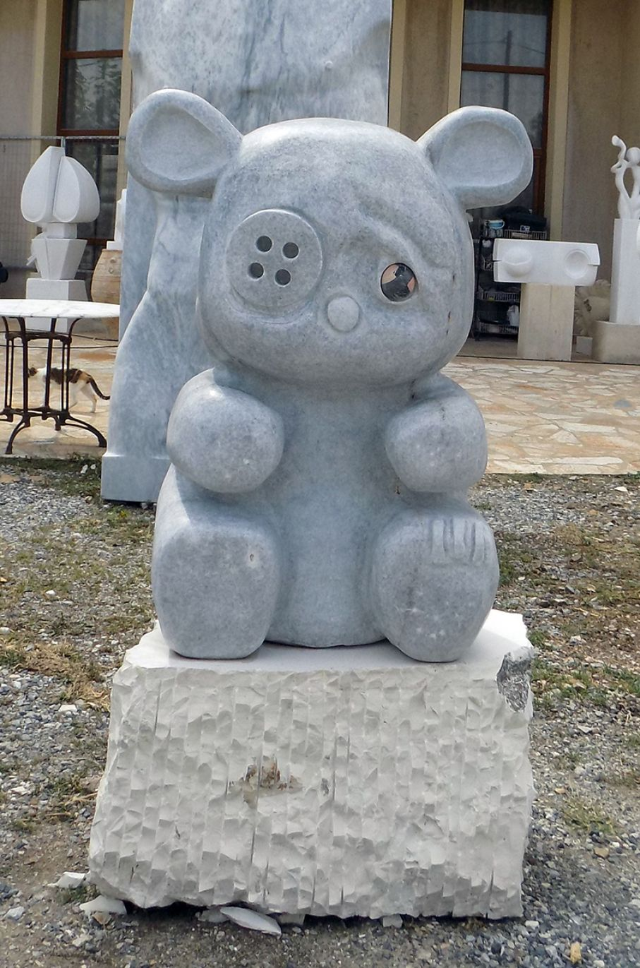 "Original marble sculpture of  Givi Michailidis, completed on August 2015, within Myrό Antiques House premises, in Souroti, Thessaloniki, GREECE, as part of the Greek Marble Initiative, bearing the tile ""Mr. Teddy Bear"".  Dimensions: 147 X 70 X 40 cm, including the base."