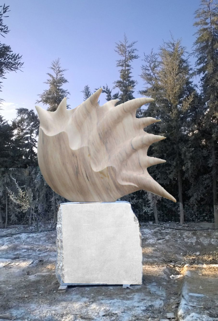 "Original marble sculpture of  Albena Mihaylova, completed on August 2014, within Myrό Antiques House premises, in Souroti, Thessaloniki, GREECE, as part of the Greek Marble Initiative, bearing the title ""Flame"". Dimensions: 195 X 87 X 40 (with its base)."