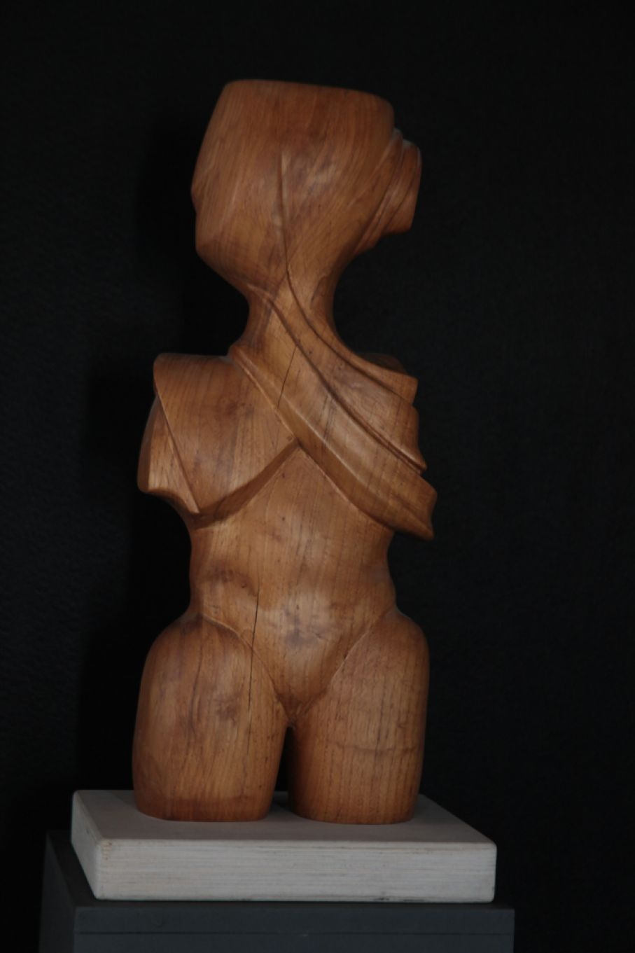 "Original sculpture in wood of Thanos Karonis, completed on August 2013, within Myrü Antiques House premises, in Souroti, Thessaloniki, GREECE, as part of the Greek Marble Initiative, belonging in a series called ""Idols"". Dimensions: 56 X 28 X 22 cm (with its base)."