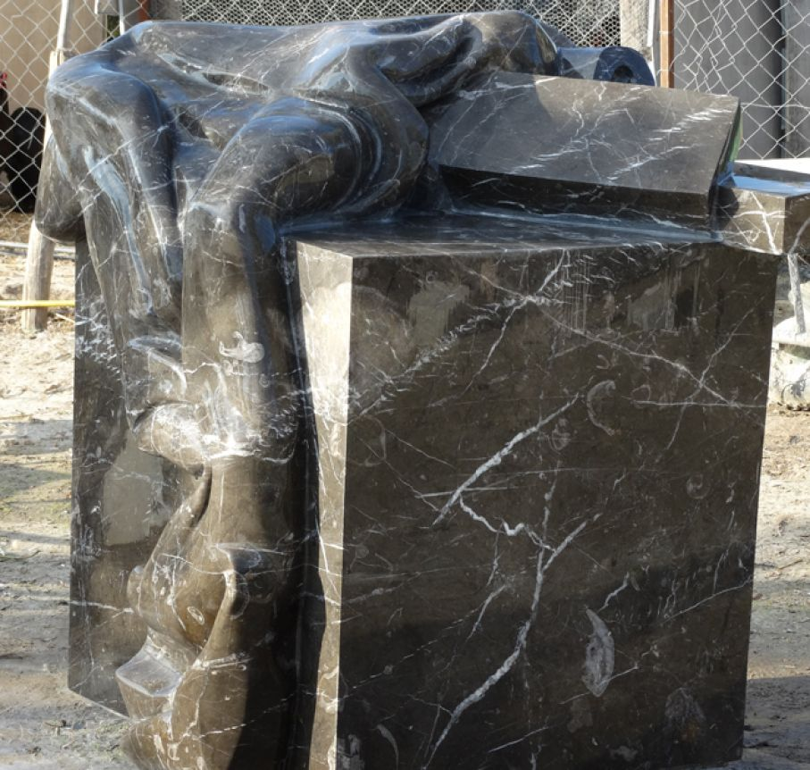 "Original marble sculpture of Giorgie Cpajak, completed on August 2013, within Myrü Antiques House premises, in Souroti, Thessaloniki, GREECE, as part of the Greek Marble Initiative, bearing the title ""Embrace"". Dimensions: 136 X 115 X 120 cm."