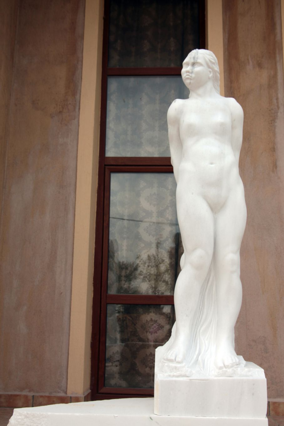 "Original marble sculpture of Stratos Pallas, completed on August 2013, within Myrό Antiques House premises, in Souroti, Thessaloniki, GREECE, as part of the Greek Marble Initiative, bearing the title ""Spring"". Dimensions: 150 X 40 X 30 cm (with its base but without its pedestral)."