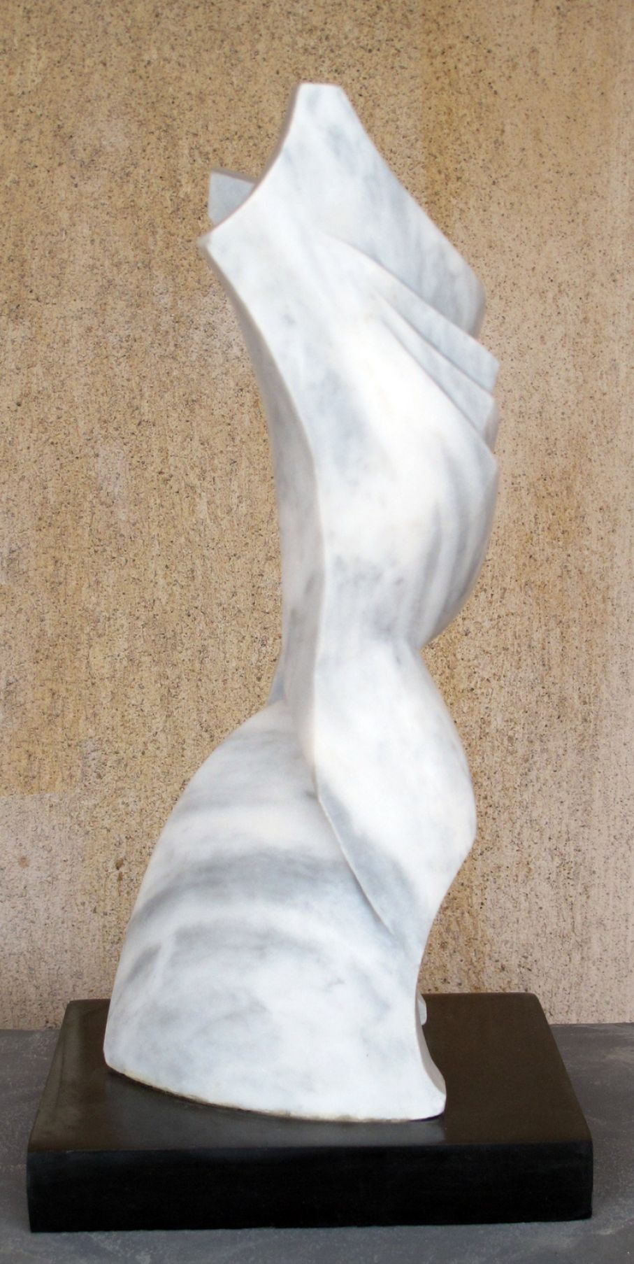 "BRIEF DESCRIPTION. Original marble sculpture of  Ciprian Hopirtean, completed within Myrό Antiques House premises, in Souroti, Thessaloniki, GREECE, as part of the Greek Marble Initiative, bearing the title ""Duality II"". Dimensions: 38 X 18 X 19 cm."