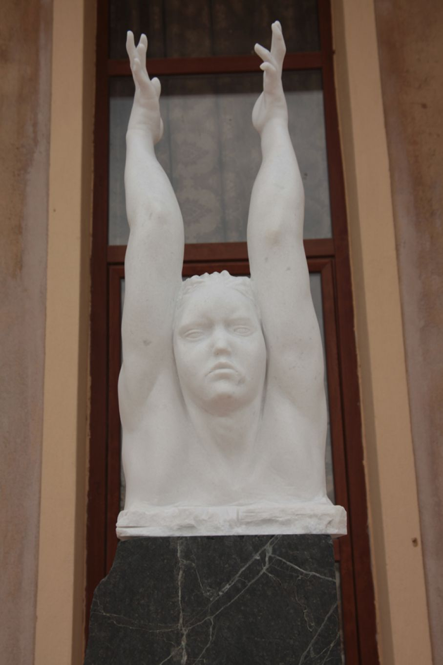 "Original marble sculpture of Stratos Pallas, completed on August 2013, within Myrό Antiques House premises, in Souroti, Thessaloniki, GREECE, as part of the Greek Marble Initiative, bearign the title ""Metamorphosis"". Dimensions: 88 X 33 X 27 cm (without its base)."