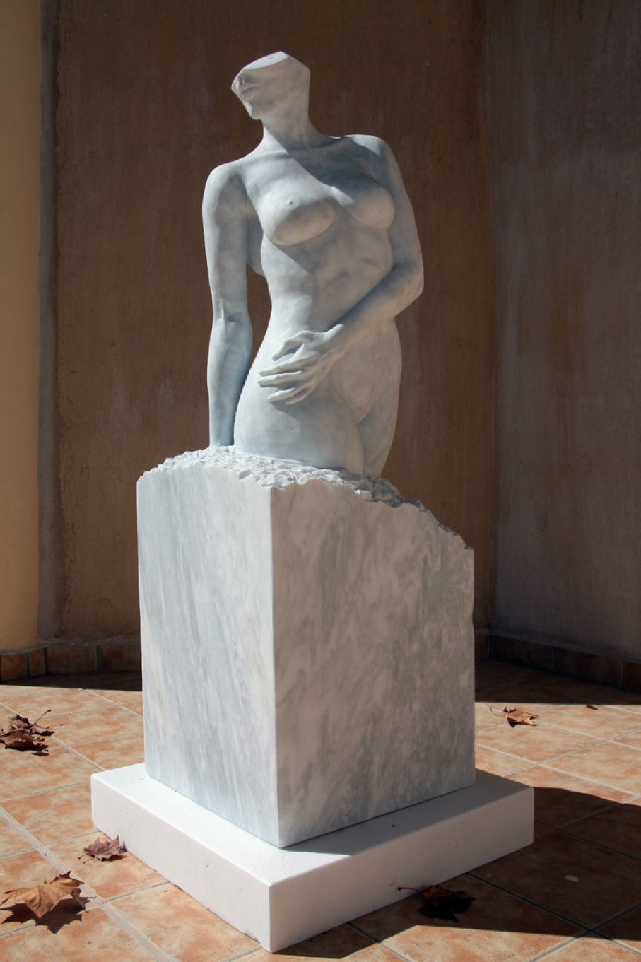 "Original marble sculpture of Sherry Tipton, completed on August 2013, within Myrό Antiques House premises, in Souroti, Thessaloniki, GREECE, as part of the Greek Marble Initiative, bearing the title ""Serenity"". Dimensions: 153 X 50 X 50 (with its base)."