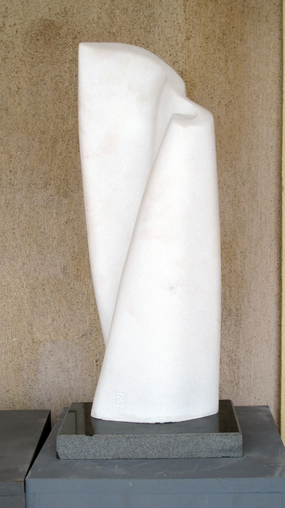 "BRIEF DESCRIPTION. Original marble sculpture of  Ciprian Hopirtean, completed within Myrό Antiques House premises, in Souroti, Thessaloniki, GREECE, as part of the Greek Marble Initiative, bearing the title ""Floriana"". Dimensions: 52 X 22 X 16 cm."