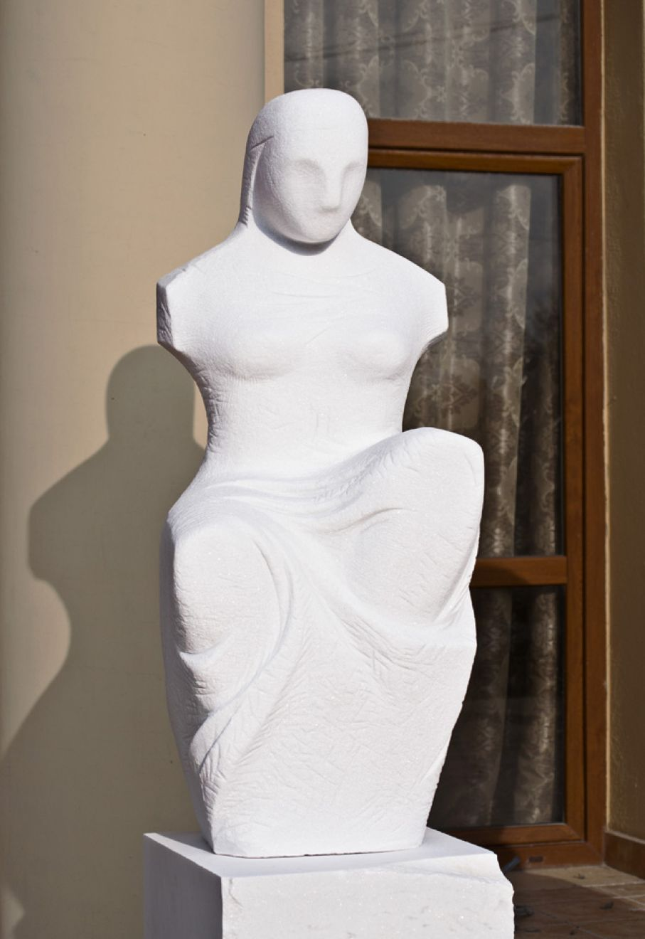 Original marble sculpture of Odysseas Tosounidis, completed within Myrό Antiques House premises, in Souroti, Thessaloniki, GREECE, as part of the Greek Marble Initiative. Dimensions: 100X40X40 cm (without a base).
