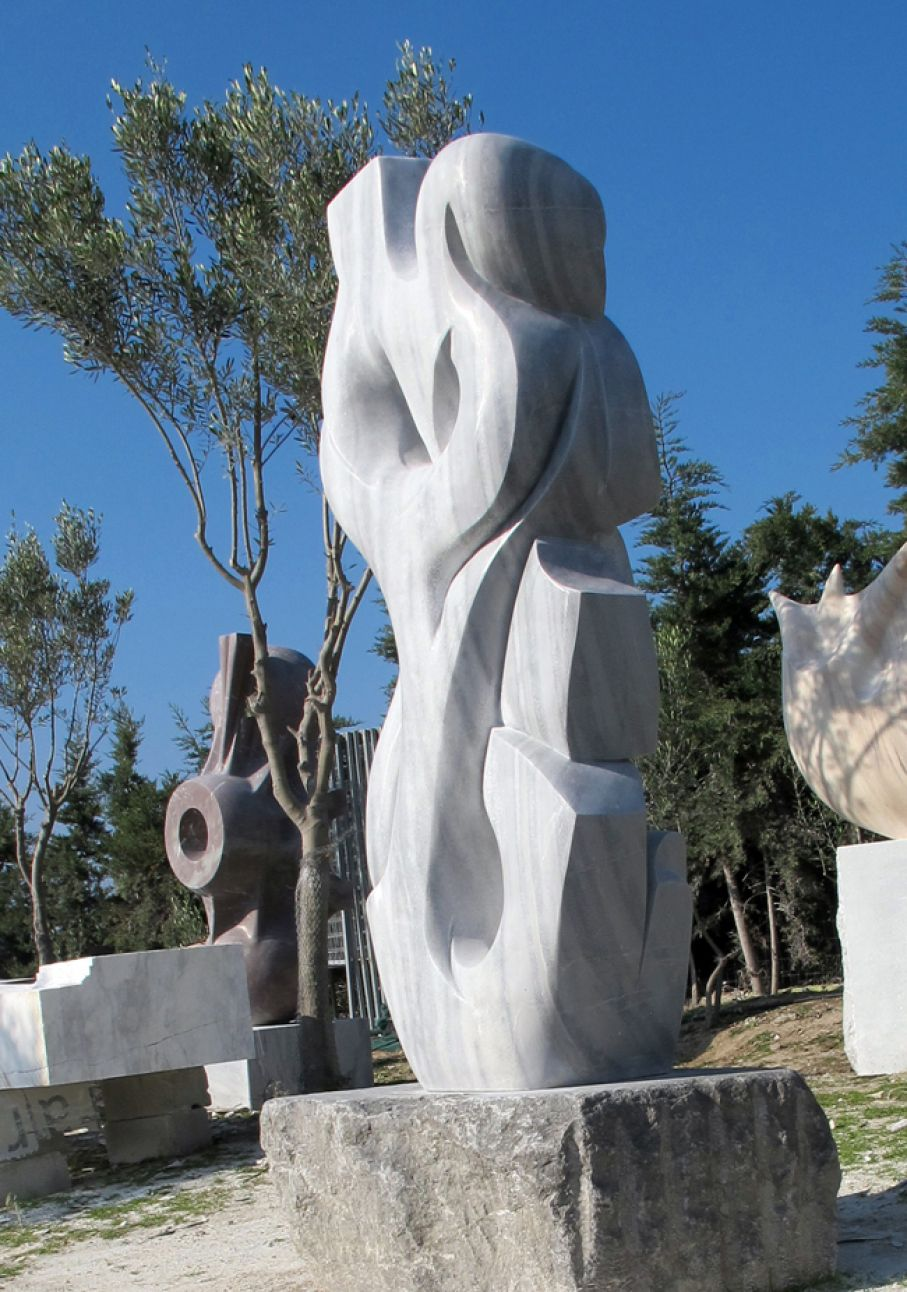 Original marble sculpture of Thanos Karonis, completed on October 2014, within Myrό Antiques House premises, in Souroti, Thessaloniki, GREECE, as part of the Greek Marble Initiative. Dimensions: 205 X 90 X 64 cm (with the depicted base).