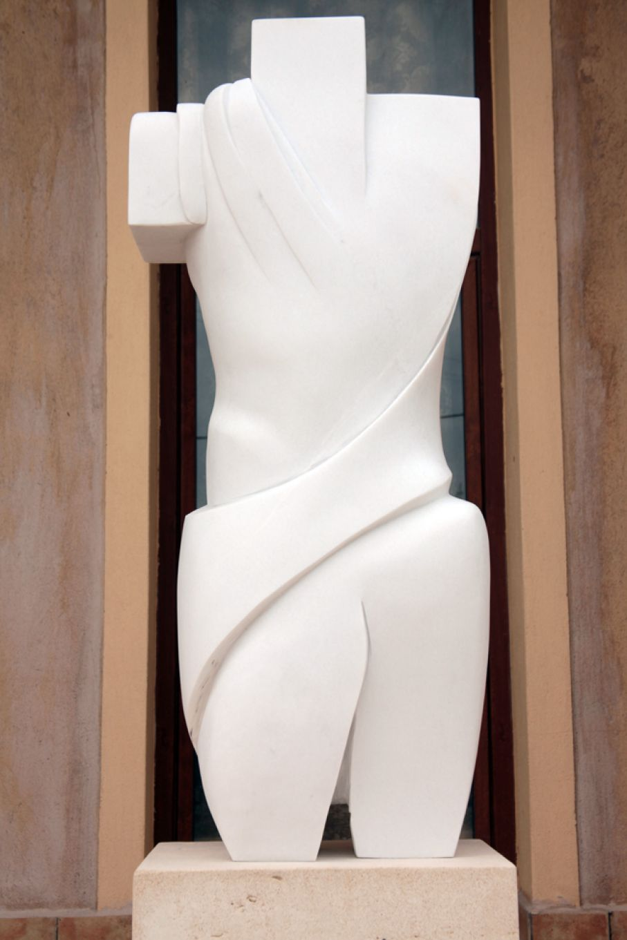 "Original marble sculpture of Thanos Karonis, completed on August 2013, within Myrό Antiques House premises, in Souroti, Thessaloniki, GREECE, as part of the Greek Marble Initiative, bearing the title ""Torso"". Dimensions: 132 X 50 X 33 cm (without its base)."