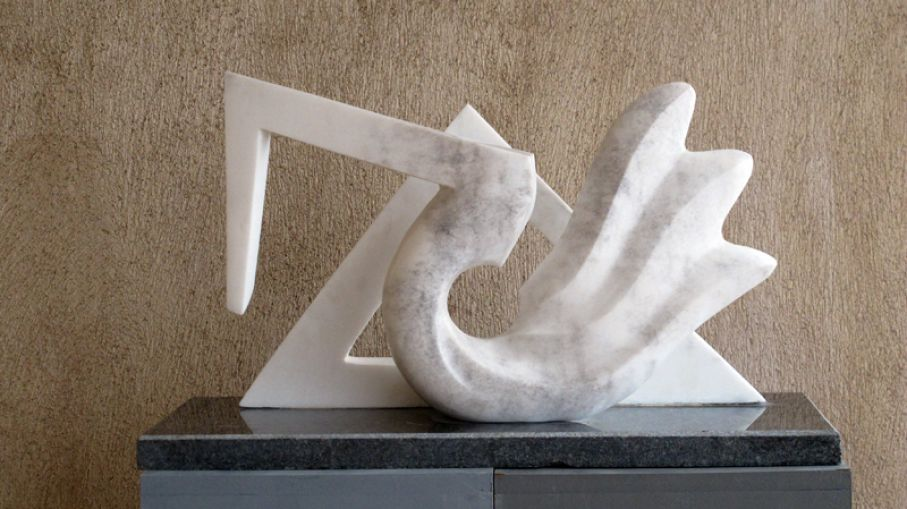 "BRIEF DESCRIPTION. Original marble sculpture of  Ciprian Hopirtean, completed within Myrό Antiques House premises, in Souroti, Thessaloniki, GREECE, as part of the Greek Marble Initiative, bearing the title ""Dream of the form"". Dimensions: 34 X 60 X 26 cm."