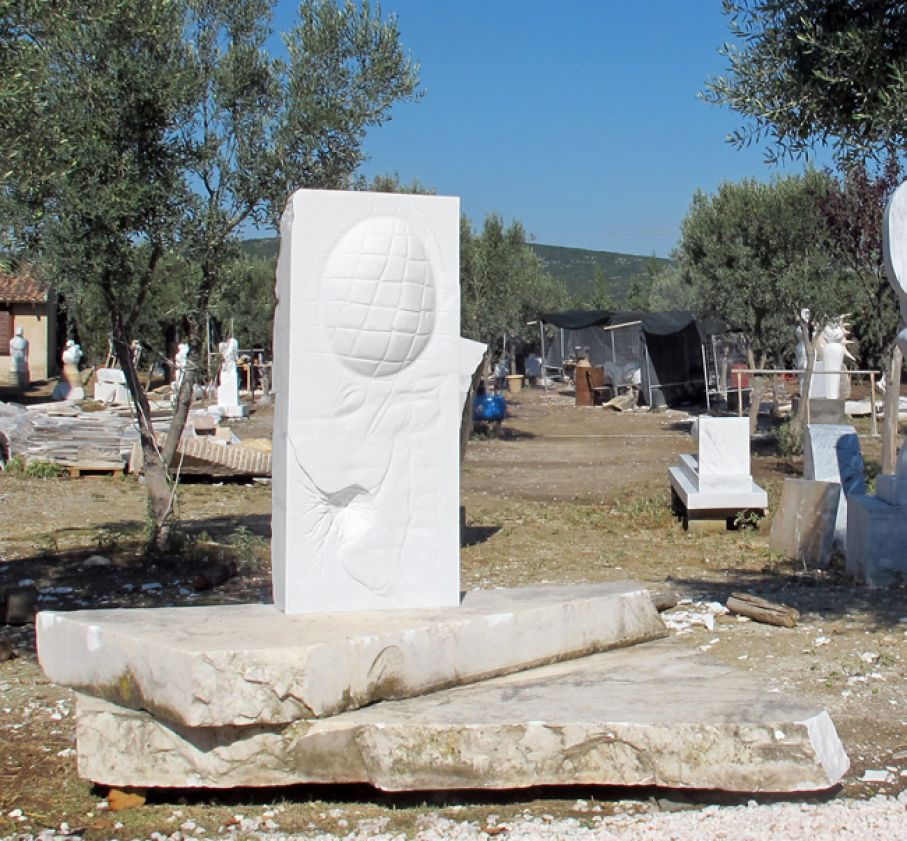 "Original marble sculpture of Tasos Leonoglou, completed on August 2014, within Myrό Antiques House premises, in Souroti, Thessaloniki, GREECE, as part of the Greek Marble Initiative, bearing the title ""Portrait"". Dimensions: 180 X 200 X 160 cm as depicted with a base)."