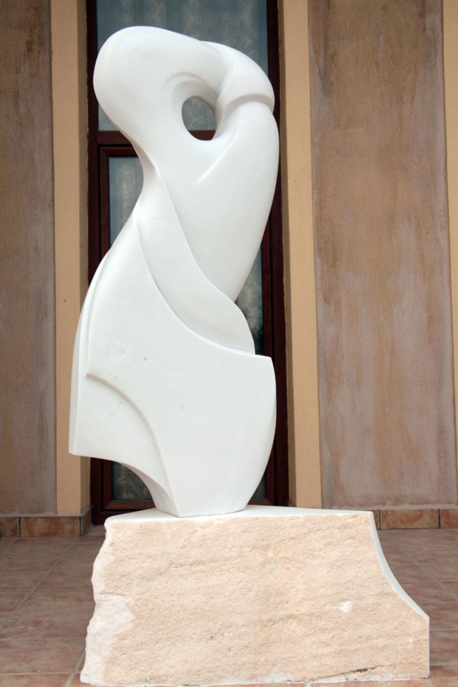 "Original marble sculpture of Thanos Karonis, completed on August 2013, within Myrό Antiques House premises, in Souroti, Thessaloniki, GREECE, as part of the Greek Marble Initiative, bearing the title ""Theorem"". Dimensions: 135 X 60 X 22 cm (without its base)."