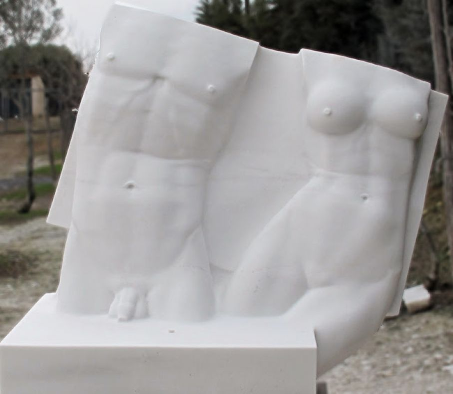 Original marble sculpture of Kamen Tanev, completed within Myrό Antiques House premises, in Souroti, Thessaloniki, GREECE, as part of the Greek Marble Initiative. Dimensions: 134 X 128 X 85 cm.
