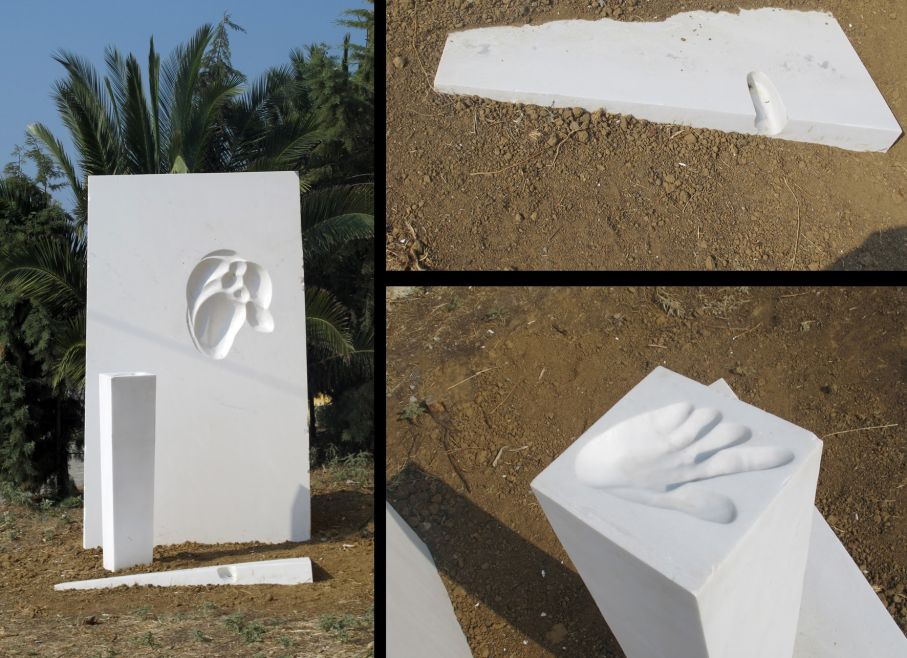 "Original marble sculpture monumental complex of Thanasis Pallas completed on August 2013, within Myrό Antiques House premises, in Souroti, Thessaloniki, GREECE, as part of the Greek Marble Initiative, bearing the title ""Zeus"". The complex consists of 3 pieces, bearing dimensions 171 X 90 X 95 cm (back) + 125 X 29 X 30 cm (column) + 12 X 157 X 80 cm (footer) ."