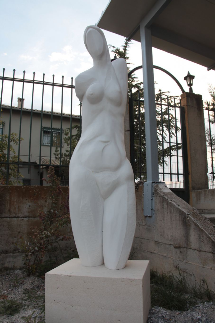 "Original marble sculpture of Paraskevas Magiras, completed on August 2013, within Myrό Antiques House premises, in Souroti, Thessaloniki, GREECE, as part of the Greek Marble Initiative, bearing the title ""Kormos"" (meaning ""body"", as well as ""tree"" in Greek). Dimensions: 196 X 55 X 42 cm (with its base)."