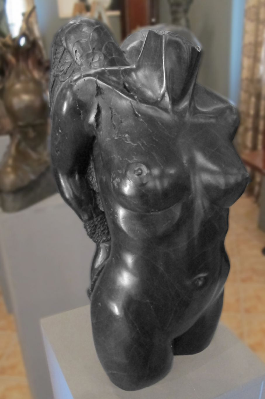 Original bronze sculpture of  Sherry Tipton with patina. Dimensions: 55 X 26 X 17  (without its base).