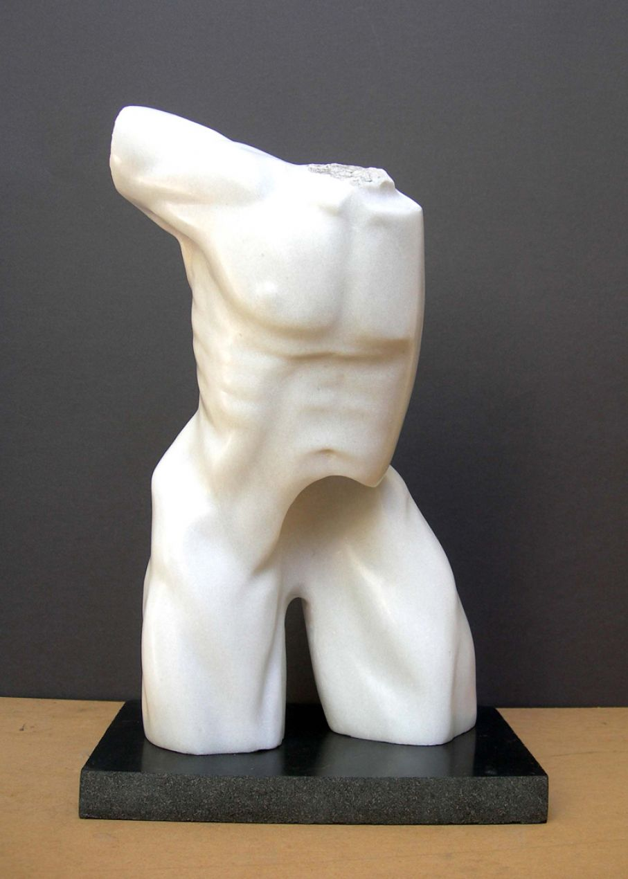 "BRIEF DESCRIPTION. Original marble sculpture of  Ciprian Hopirtean, completed within Myrό Antiques House premises, in Souroti, Thessaloniki, GREECE, as part of the Greek Marble Initiative,bearing the title ""Dreamer I"". Dimensions: 47 X 29 X 17 cm."