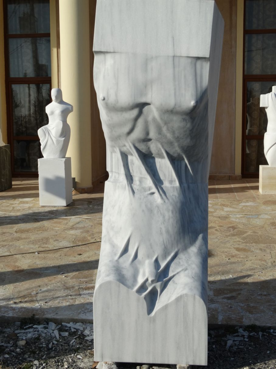 Original marble sculpture of Kamen Tanev, completed on August 2013, within Myrό Antiques House premises, in Souroti, Thessaloniki, GREECE, as part of the Greek Marble Initiative. Dimensions: 220 X 70 X 64 cm.