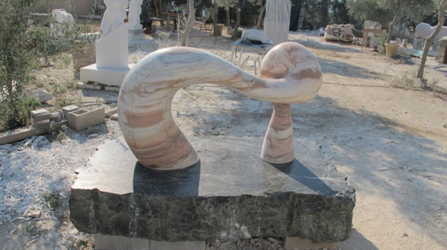 "Original marble sculpture of  Andrej Mitevski, completed on August 2014, within Myrό Antiques House premises, in Souroti, Thessaloniki, GREECE, as part of the Greek Marble Initiative, bearing the tiitle ""Emerging Form"". Dimensions: 108 X 160 X 90 cm (with the depicted base)."