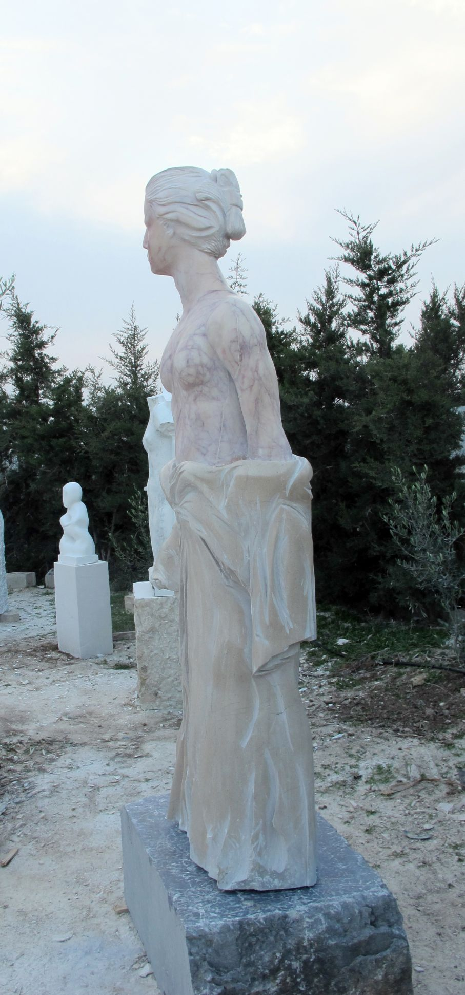 Original marble sculpture of  Stratos Pallas, completed on October 2014, within Myrό Antiques House premises, in Souroti, Thessaloniki, GREECE, as part of the Greek Marble Initiative.  Dimensions: 228 X 54 X 98 cm (with the depicted base).
